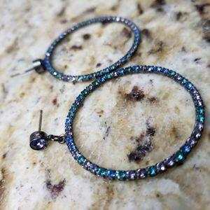 Swarovski Crystal  Iridescent blue hoops
